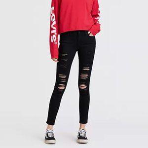 Levi's 711 Black Distressed Skinny Jeans Size 28